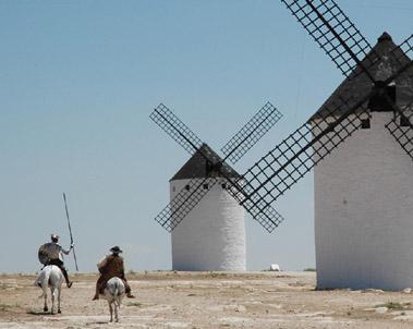 Don Quijote y Sancho por los Molinos